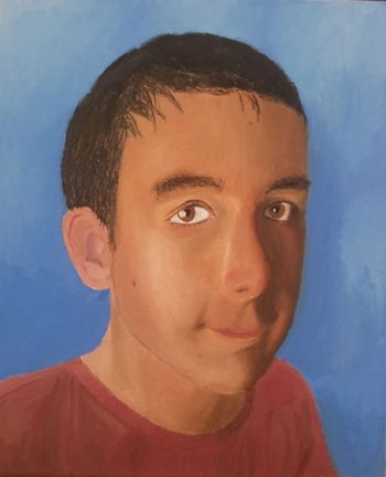 Title: Cam on Canvas, Subject: Self Portrait, Artist: Cameron Wright, Year 10