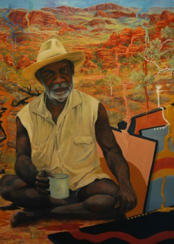 Title: Painting my Country, Subject: Paddy Carlton, Artist: Nadeen Lovell