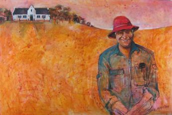 Title: Man in the Red Hat, Subject: Michael Wright, Artist: Christine Hingston