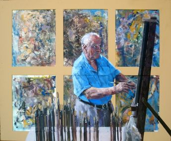 Title: At 97 Maybe I should try a new style, Subject: Leonard Long, Artist: Jim van Geet