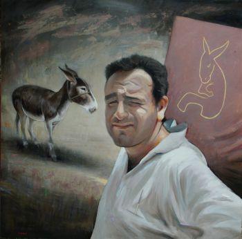 Title: Self Portrait Painting an Ass, Subject: Self Portrait, Artist: Steve Lopes