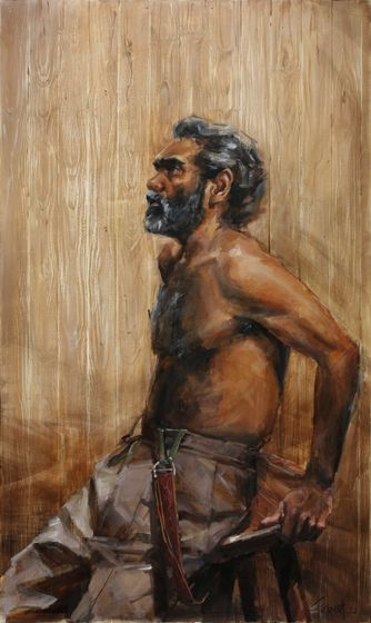 Title: Trevor Jamieson as Namatjira #2 Wood, Subject: Trevor Jamieson, Artist: Evert Ploeg