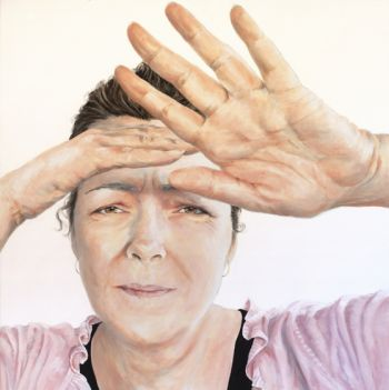 Title: The Light is Hurting my Eyes, Subject: Self Portrait: Mother of Teenagers, Artist: Fiona Buchanan