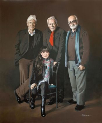 Title: The Seekers Re-unite 50 Years On, Subject: The Seekers: Judith Durham, Athol Guy, Bruce Woodley, Keith Potger. Artist: Helen Edwards