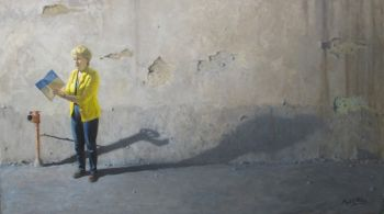 Title: The Yellow Jacket: Light and Literature, Subject: Lesley Reece, Artist: Matthew Ottley