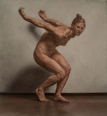 Title: Woman crouching (Lauren), Subject: Lauren Russell, Artist: Marcus Wills
