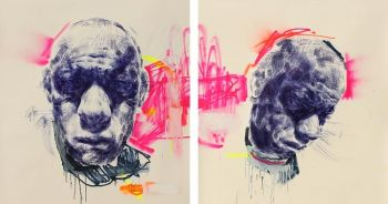 Title: Suck it up - self portrait (diptych), Artist: Andy Quilty, Subject: Self Portrait