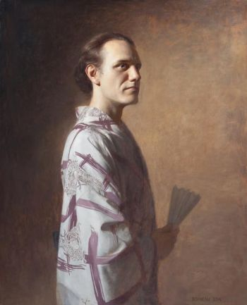 Title: David wearing Yukata, Artist: Andrew Bonneau, Subject: David Goebels