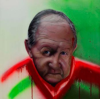 Title: Blood and sweat but no bloody tears. Artist: David Hayes. Subject: Dr. Mervyn Cross OAM