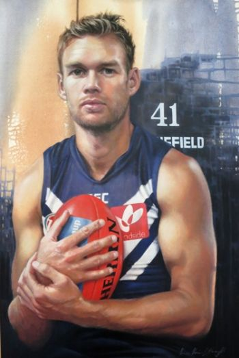 Title: Paul Duffield - Footballer. Artist: Jana Vodesil-Baruffi. Subject: Paul Duffield.