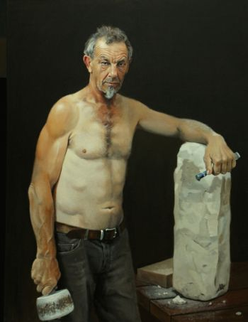 Title: The Stone Sculptor - Tony McWilliam. Artist: Peter Smeeth. Subject: Anthony McWilliam.