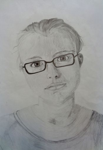 Artist: Bianca van der Spuy, Subject: Self portrait, Title: Lost in thought, Year 11