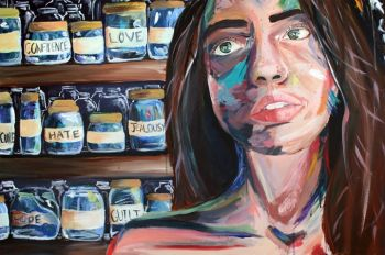 Artist: Cara Burton, Subject: Self portrait, Title: Jars, Year 11