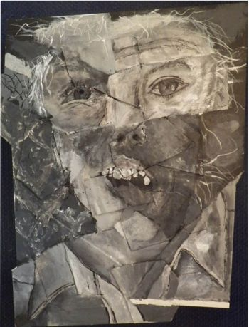 Artist: Adele Prosser, Subject: Self portrait, Title: Expression pieces, Year 9