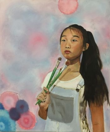 Artist: Nancy Shi, Subject: Self portrait, Title: Self portrait, Year 10