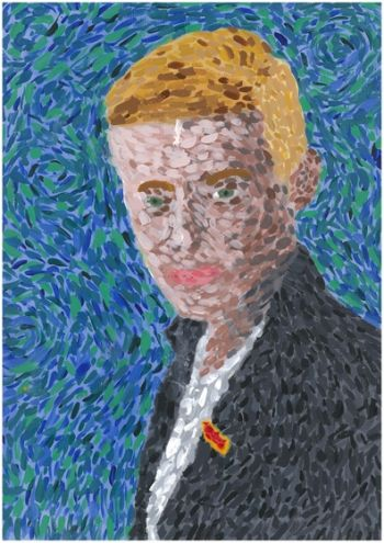 Artist: James Medland, Subject: Self portrait, Title: Self portrait after Van Gogh, Year 8