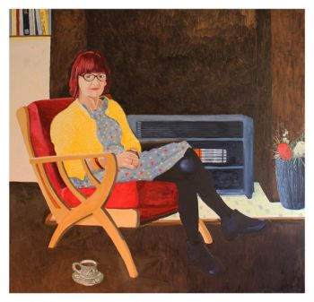 Artist: Pete Ross, Subject: Yvonne Purvis, Title: Yvonne and a cup of tea