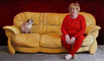 Artist: Dawn Stubbs, Subject: Self portrait, Title: Rocky and the Red Tart
