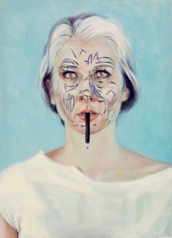 Artist: Belinda Wiltshire, Subject: Self portrait, Title: Self portrait, deconstructed blue