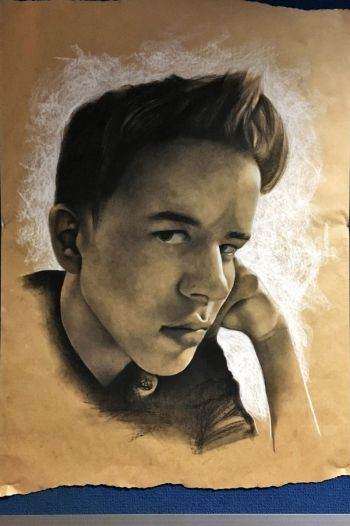 Artist: Madeline McAllan | Subject: Connor Taylor | Title: Connor in charcoal