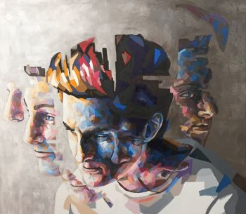 Artist: Christopher Arnold | Subject: Christopher Arnold (self portrait) | Title: Fractured