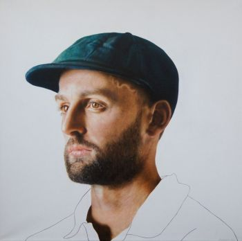 Artist: Todd Simpson | Subject: Nathan Lyon | Title: Number 421