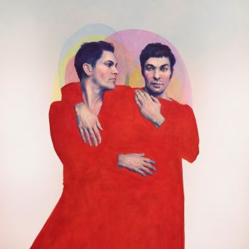 Artist: Belinda Wiltshire | Subject: Will Huxley and Garrett Huxley | Title: The Huxleys in red