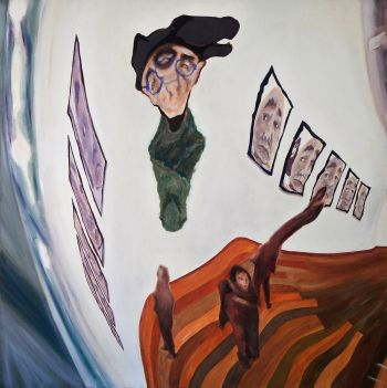 Artist: Guy Morgan | Subject: Guy Morgan (self portrait) | Title: Guy Morgan hanging in the gallery