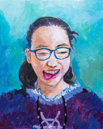 Artist: Jenny Jiayi Zhen | Title: Mischievous and smiling with a slight shyness | Subject: Self-portrait
