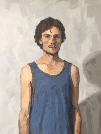 Artist: Tyler Arnold | Title: Self-portrait in blue singlet | Subject: Self-portrait