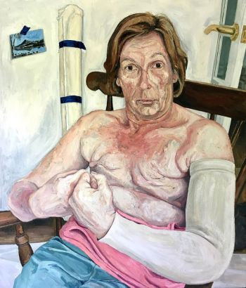 Artist: Martin Claydon | Title: Artists mother with postcard | Subject: Linda Claydon