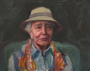 Artist: Kerry McInnis | Title: Elisabeth in a hat | Subject: Elisabeth Cummings