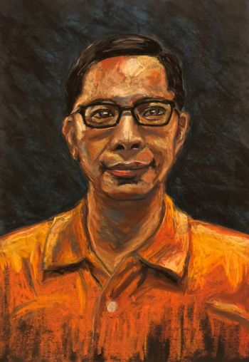 Artist: Qinzhe (Elle) Chentang | Title: My father | Subject: Hardy Tang