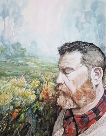 Artist: Phillip Edwards | Title: Me, I and mystics morning | Subject: Self‐portrait