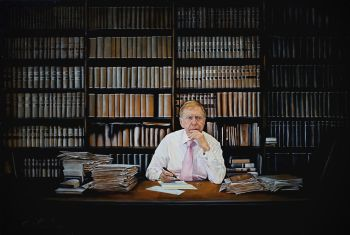 Artist: Oliver Shepherd | Title: The proposal—portrait of the Hon. Michael Kirby AC CMG | Subject: Michael Donald Kirby