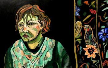Artist: Sharman Feinberg | Title: Woman with red wattle bird | Subject: Self‐portrait