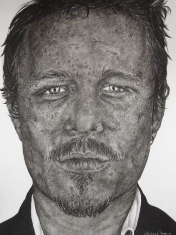 Title: Heath Ledger in Black and White, Subject: Heath Ledger, Artist: Melissa Clements
