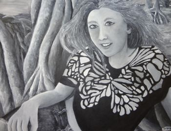 Title: Among the Dragon Trees, Subject: Self Portrait, Artist: Tahani Riches
