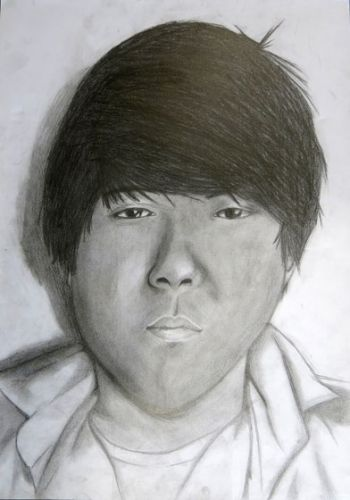 Title: Jason Kim, Subject: Self Portrait, Artist: Jason Kim, Year 10