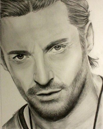 Title: Hugh Jackman, Subject: Hugh Jackman, Artist: Lily Robinson, Year 10