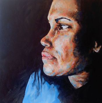 Title: In Thought, Subject: Cathy Freeman, Artist: Emily Kennedy, Year 11