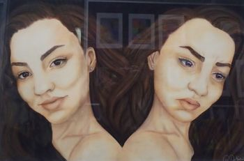 Artist: Gia De Martinis, Year 12, Title: Two Sides of Me, Subject: Self Portrait