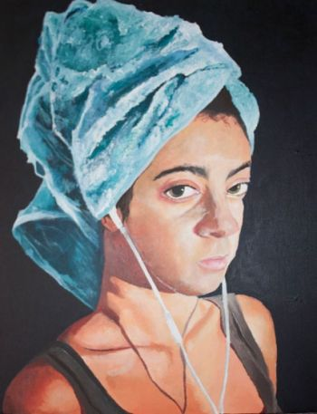 Artist: Annette Evfrosinis, Year: 11, Title: Girl with the Earphones, Subject: Cynthia Evfrosinis