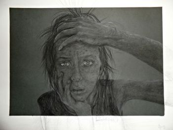 Artist: Melissa Clements, Year: 10, Title: Being Human, Subject: Self Portrait