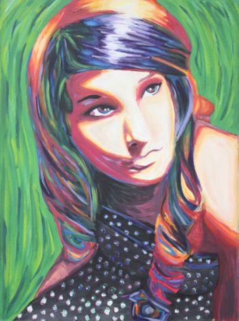 Artist: Meg Arnold, Year: 10, Title: My Pursuit for Colours, Subject: Self Portrait