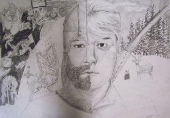 Artist: John Saxon, Year: 9, Title: Neath the Exterior, Subject: Self Portrait