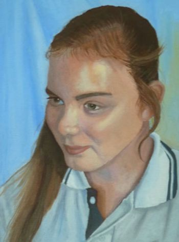 Artist: Rebecca Richards, Year: 8, Title: Becky, Subject: Self Portrait