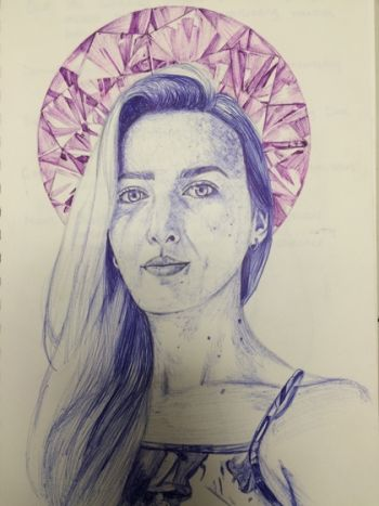Artist: Gemma Kouzinas, Year: 12, Title: Self Portrait Pen Study, Subject: Self Portrait