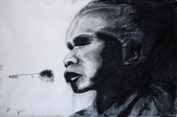 Artist: Keira Hayden, Year: 11, Title: Geoffrey Gurrumul Yunupingu, Subject: Geoffrey Gurrumul Yunupingu