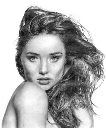 Artist: Yiling McGregor, Year: 10, Title: Miranda Kerr, Subject: Miranda Kerr
